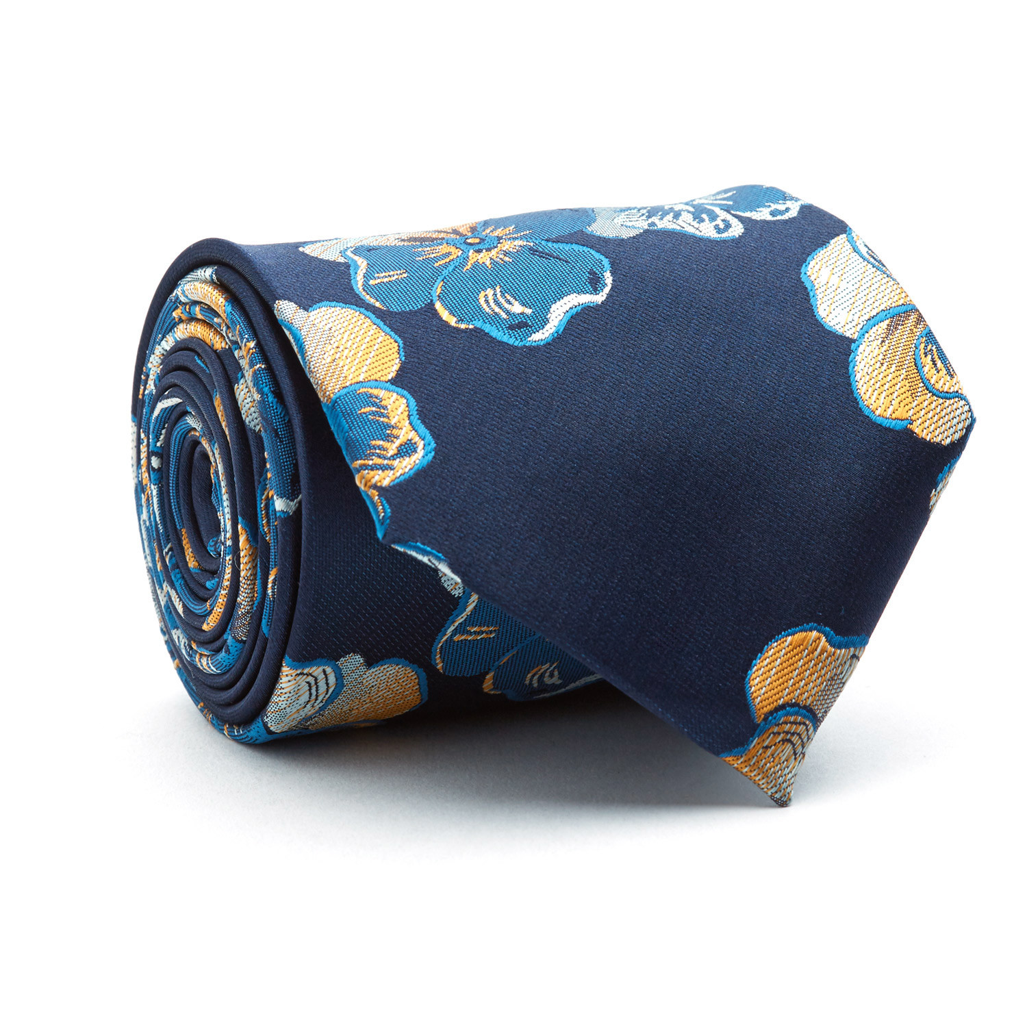 Handmade Tie Gold Navy Blue Floral Blanc Touch Of Modern