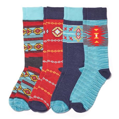 Aztec Geo Sock // Multi // Pack of 4