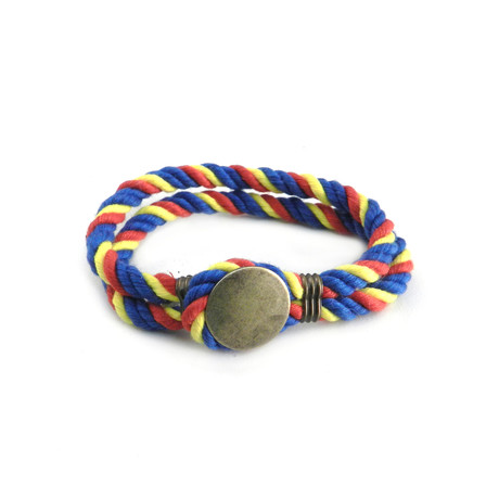 Brass Button Paracord Bracelet // Multicolor