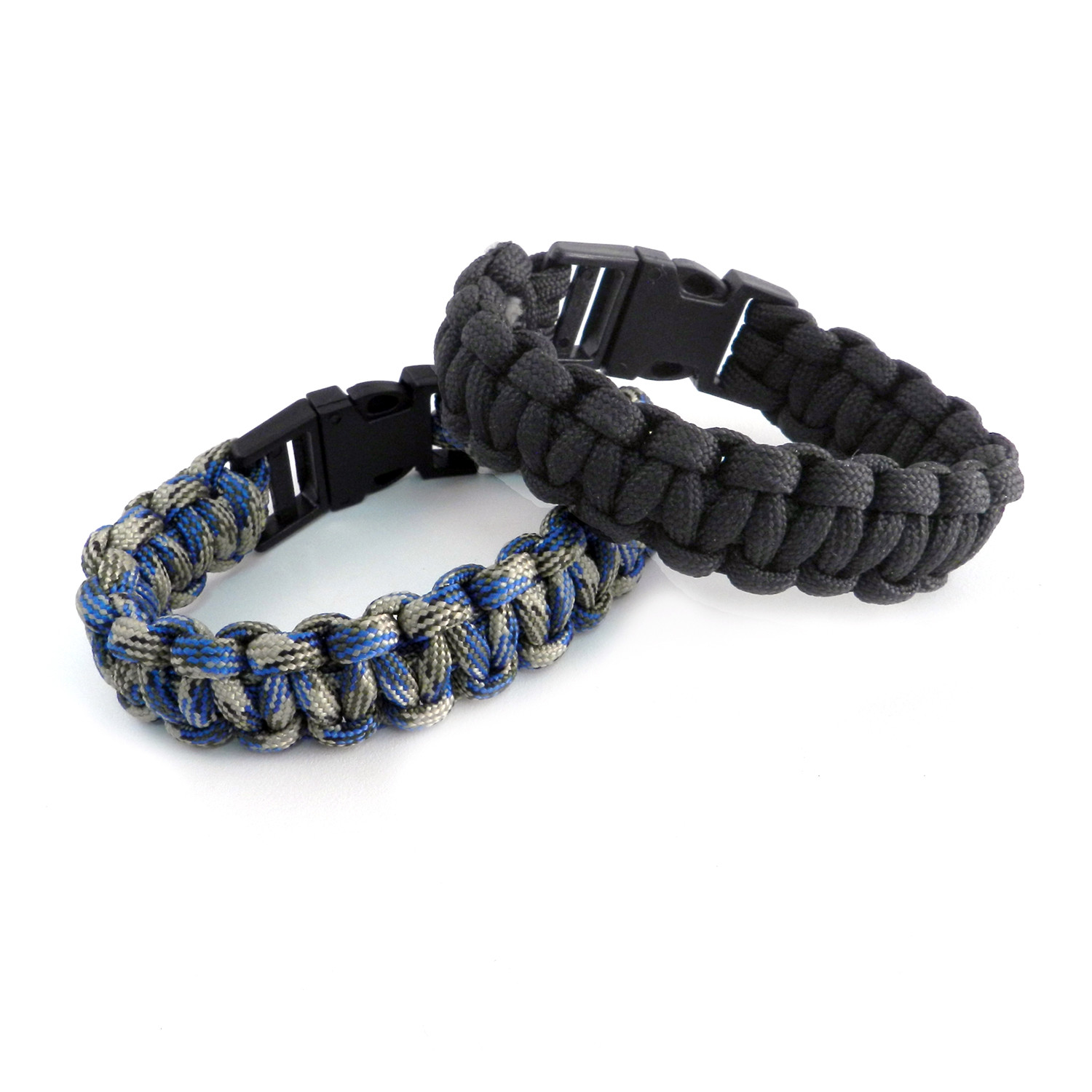 Paracord Snap Buckle Bracelet Set Of 2 Black Blue