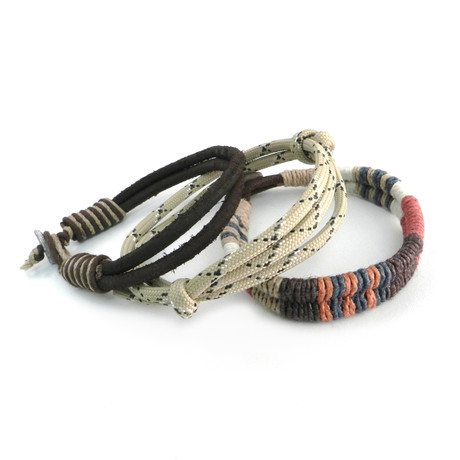 Paracord + Leather Earth Bracelet // Set of 3