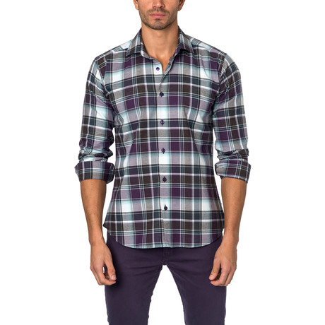 Large Plaid Button-Up Shirt // Grey + Purple