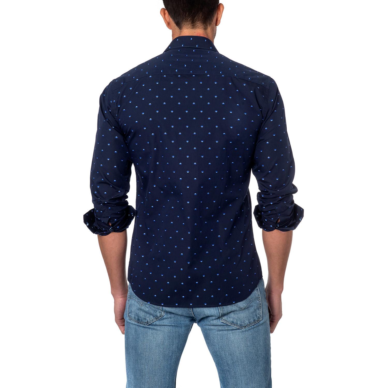 Gradient Drops Button Up Shirt Navy S Jared Lang