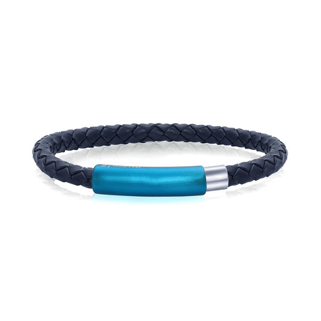 Blue Stainless Steel Leather Bracelet