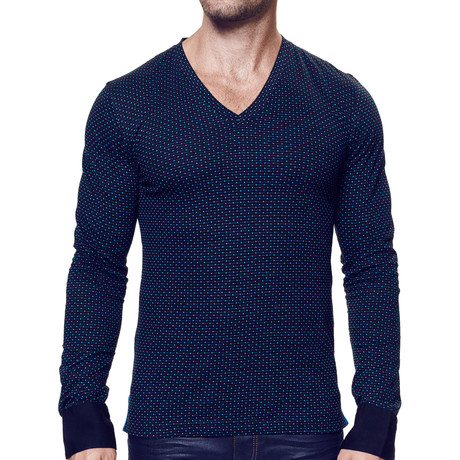 Cuffed Long-Sleeve Dotted V-Neck // Black