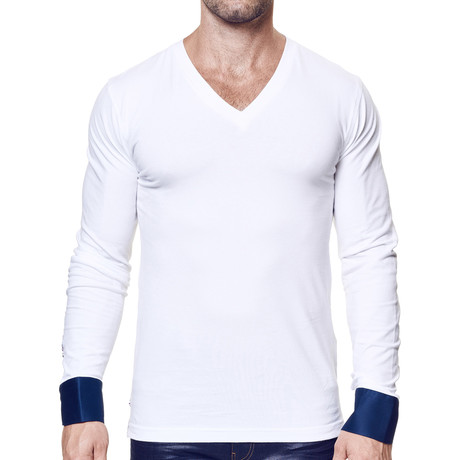 Cuffed Long-Sleeve V-Neck // White