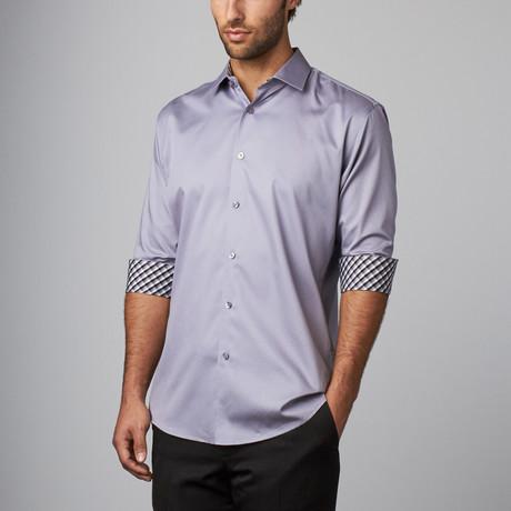 Plaid Placket Button-Up Shirt // Grey (S)