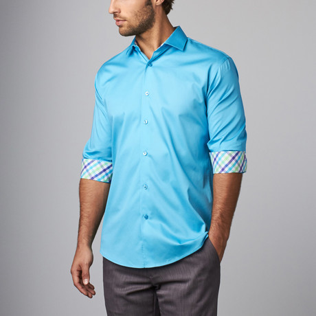 Plaid Placket Button-Up Shirt // Turquoise (S)