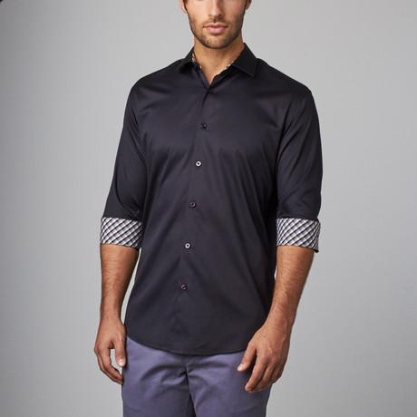 Plaid Placket Button-Up Shirt // Navy