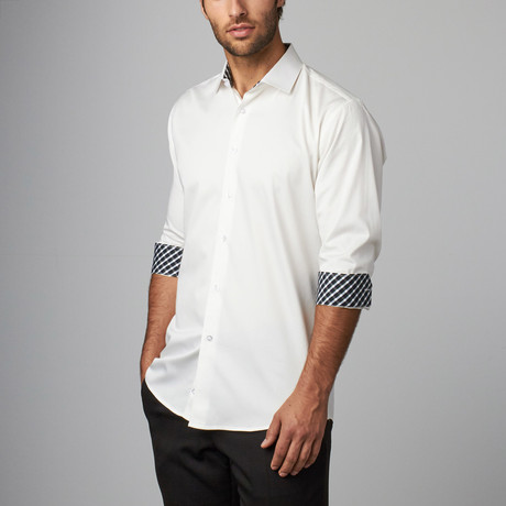 Plaid Placket Button-Up Shirt // White (S)