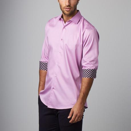Plaid Placket Button-Up Shirt // Lavender (S)