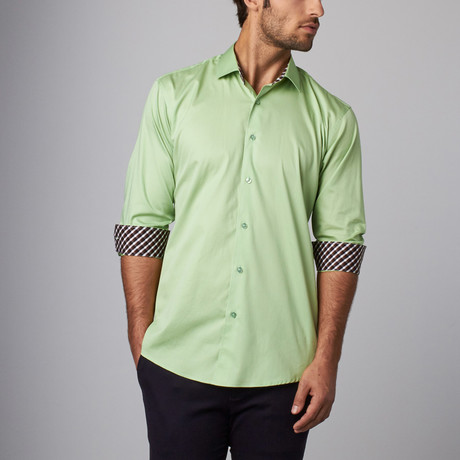 Plaid Placket Button-Up Shirt // Lime (S)