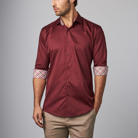 Plaid Placket Button-Up Shirt // Burgundy (S)
