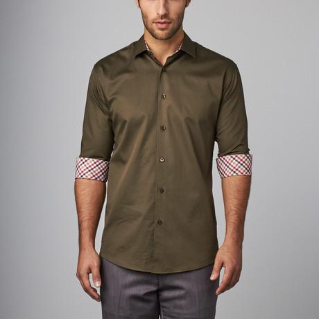 Plaid Placket Button-Up Shirt // Brown (S)