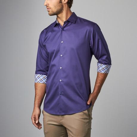 Plaid Placket Button-Up Shirt // Dusty Blue (S)