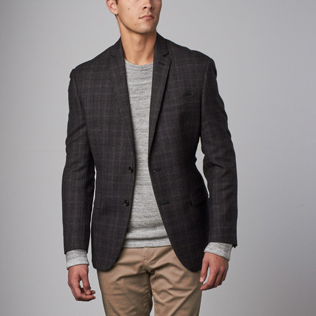 Wool Sport Coat // Charcoal Plaid