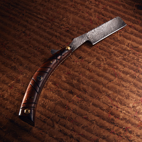 Damascus Steel Straight Razor + Pouch // RZ-23
