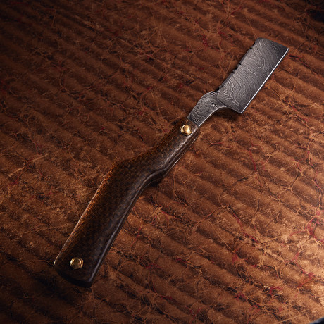 Damascus Steel Straight Razor + Pouch // RZ-21