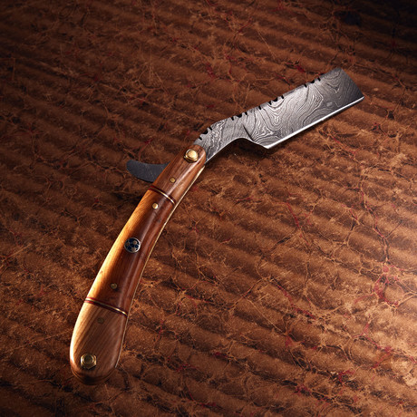 Damascus Steel Straight Razor + Pouch // RZ-19