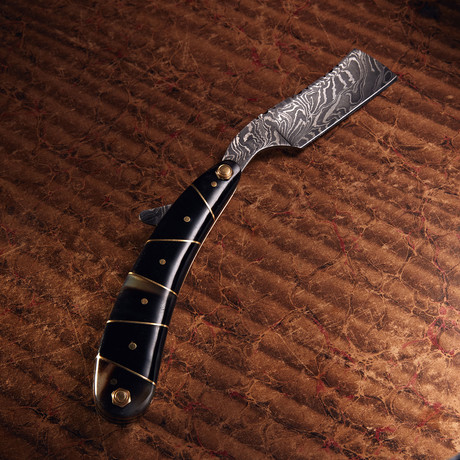 Damascus Steel Straight Razor + Pouch // RZ-15