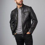 Leather Biker Jacket // Black (S)