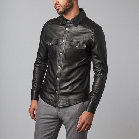 Leather Button-Up Jacket // Black (S)