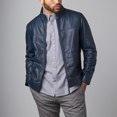 Classic Leather Jacket // Navy (S)