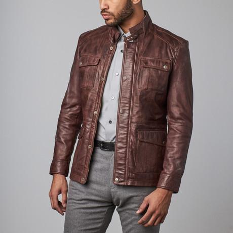 Leather Bomber Jacket // Mahogany