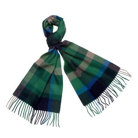 Cashmere Four Colorway Scarf + Fringe (Emerald + Grey)