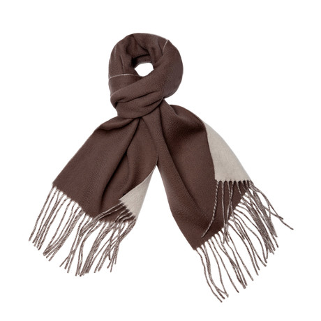 Reversible Cashmere + Wool Blend Scarf (Crème + Sand)