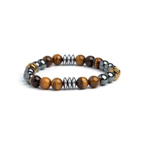 Dell Arte // Tiger Eye + Hematite Bracelet // Brown + Silver