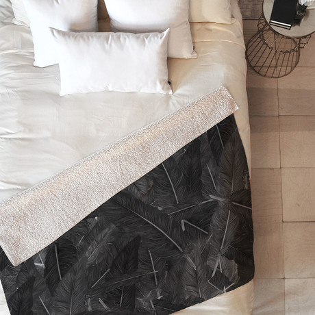 Feathered Dark // Fleece Throw Blanket (Medium)