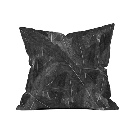 "Feathered Dark // Throw Pillow (18"" x 18"")"
