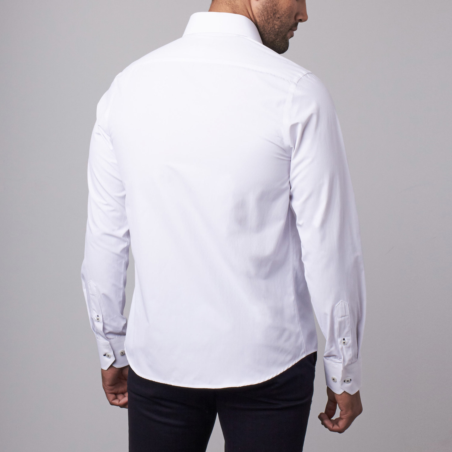 Classic dress shirt white s rosso milano touch of for Classic white dress shirt