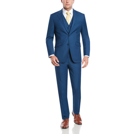 Torino Three-Piece Slim Fit Suit // French Blue