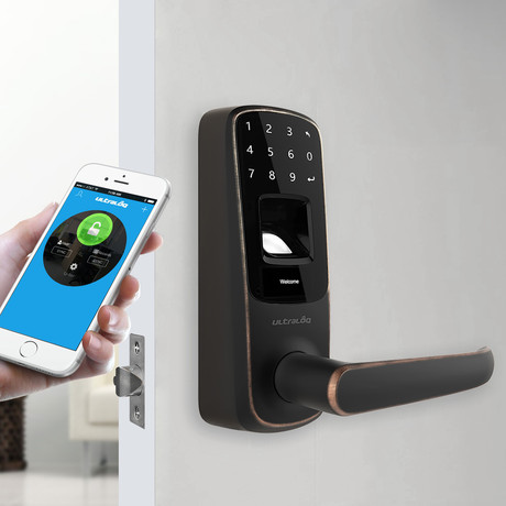 Ultraloq UL3 BT Bluetooth Enabled Fingerprint + Touchscreen Smart Lever Lock // Aged Bronze