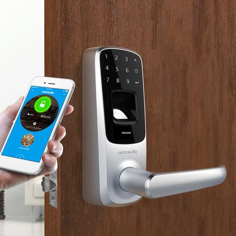 Ultraloq UL3 BT Bluetooth Enabled Fingerprint + Touchscreen Smart Lever Lock // Satin Nickel