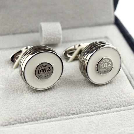Montegrappa Piacere Cufflinks // Stainless Steel // White