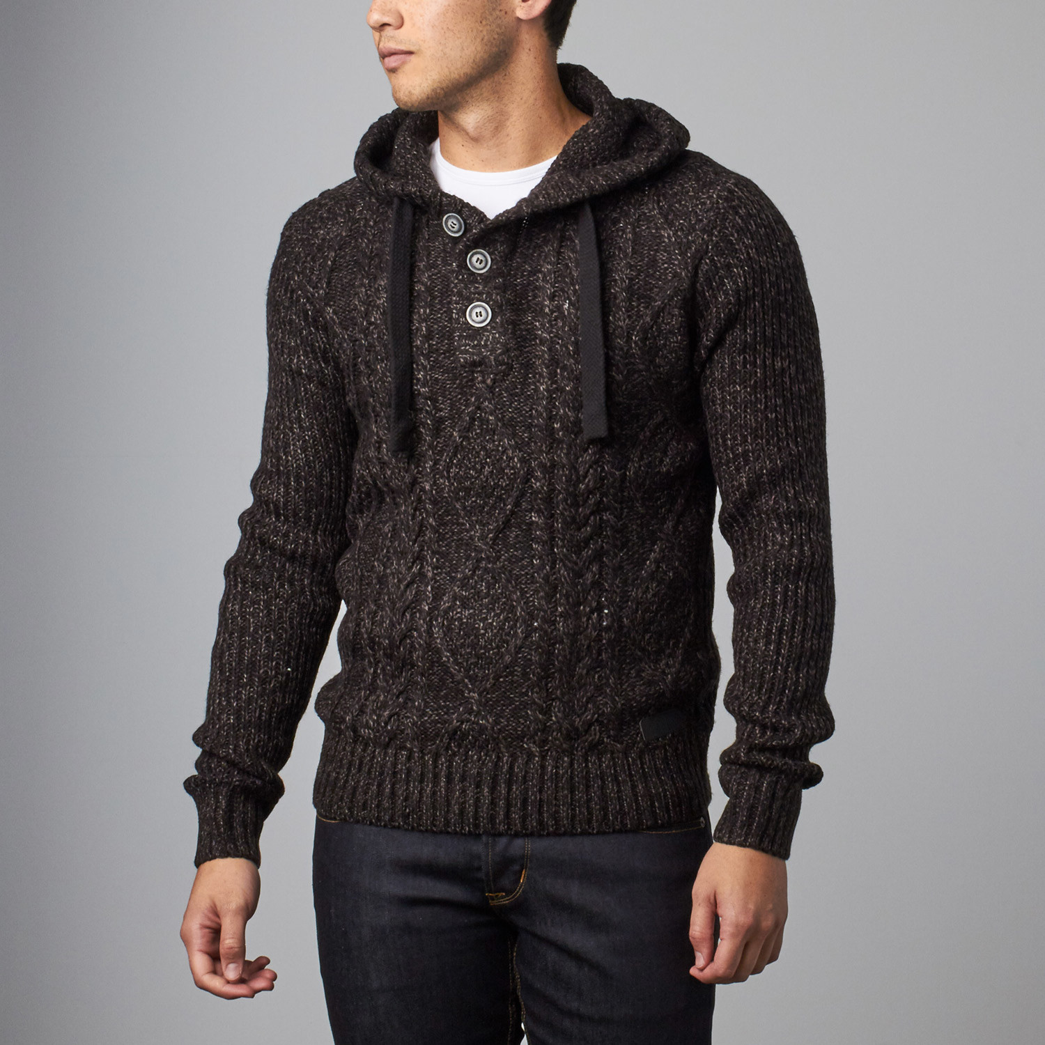 Projek Raw // Cable Knit Sweater Hoodie // Black (S) - Projek Raw ...