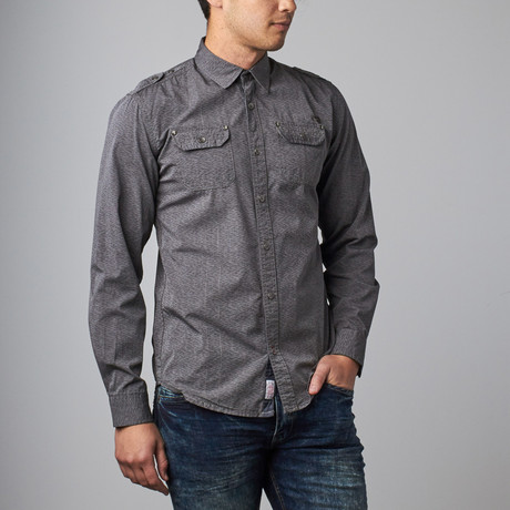 Textured Print Button-Up Shirt // Grey