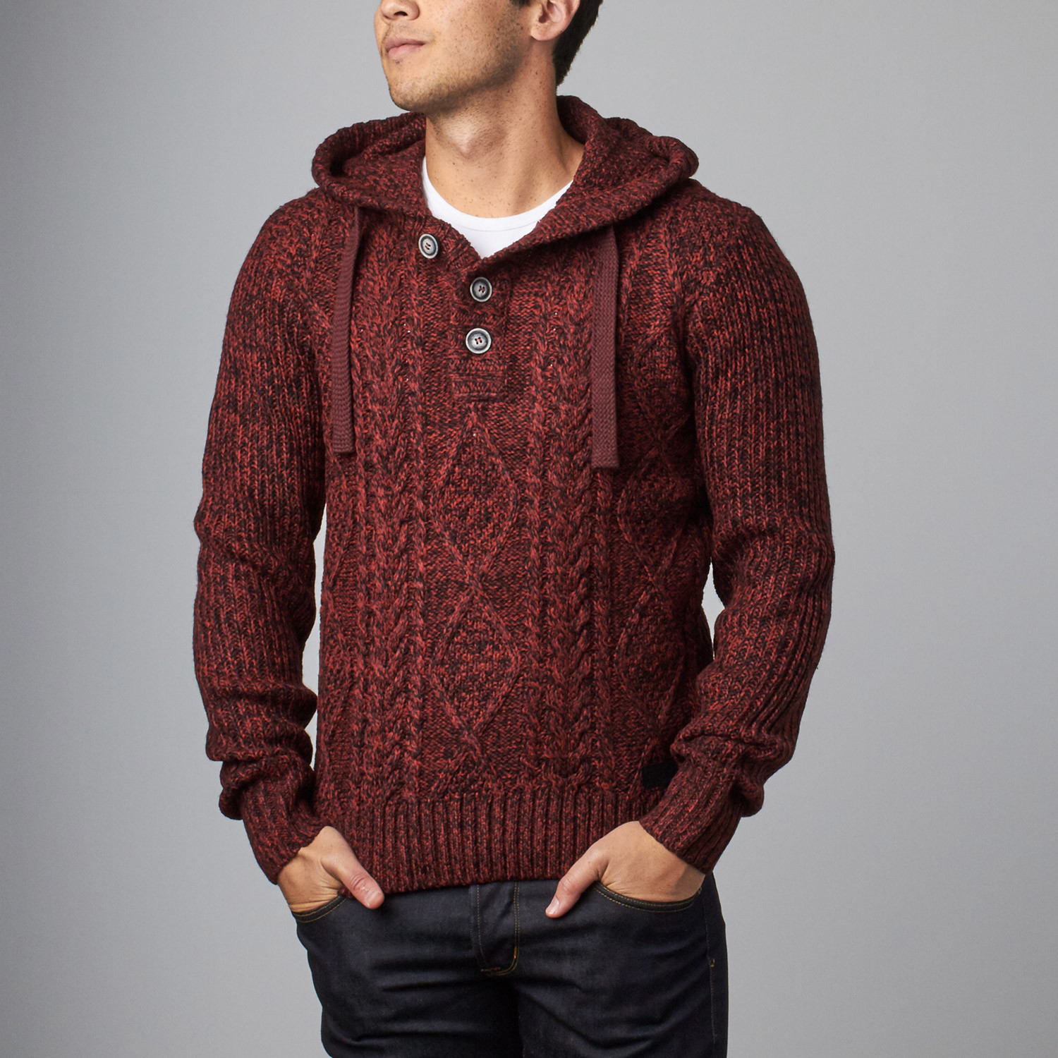 Cable Knit Sweater Hoodie Burgundy S Projek Raw Touch Of Modern