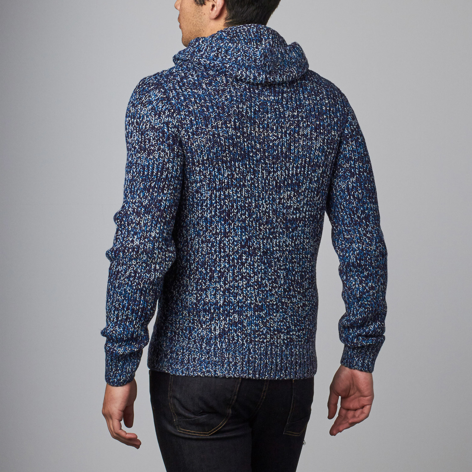 Cable Knit Sweater Hoodie // Blue (S) - Projek Raw - Touch of Modern