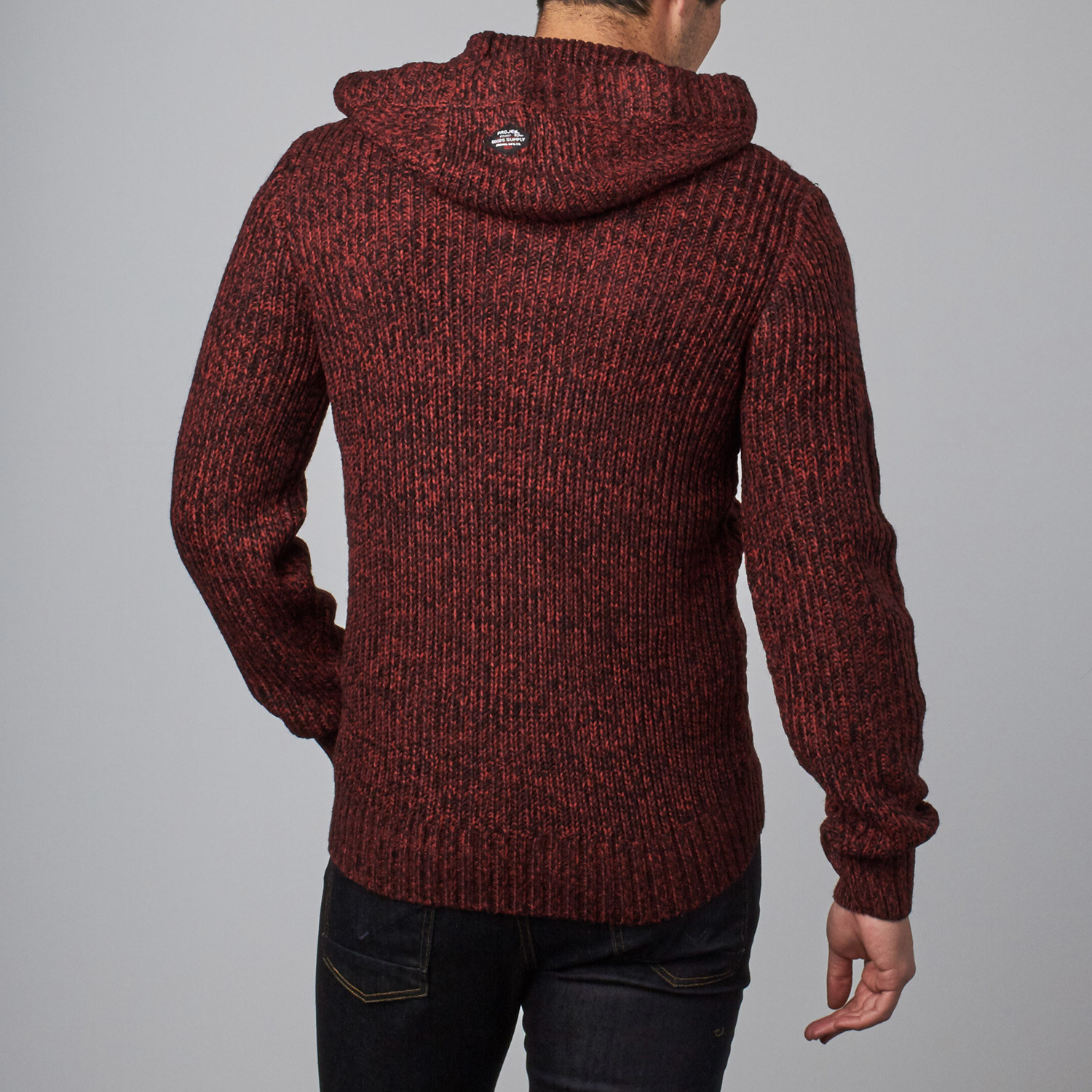 Cable Knit Sweater Hoodie // Burgundy (S) - Projek Raw - Touch of ...