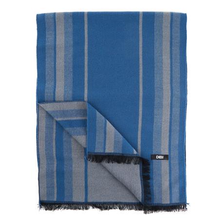 Striped Scarf // Blue + Grey