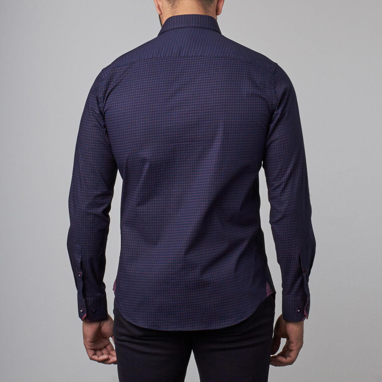 Button Up Shirt Navy Burgundy Dots S Rgb Black