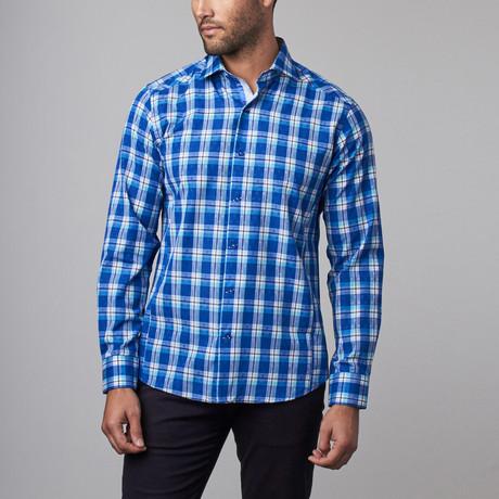 Button-Up Shirt // Blue + Light Blue Plaid