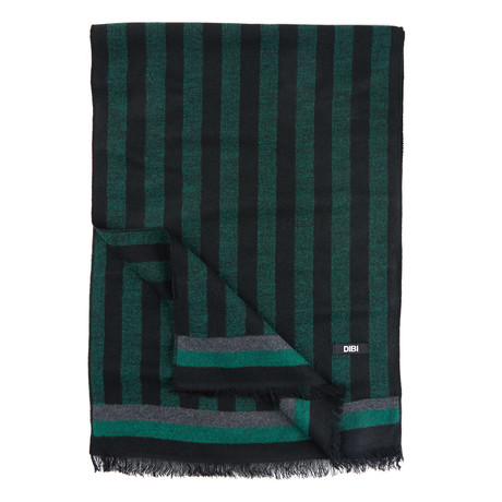 Striped Scarf // Green + Black
