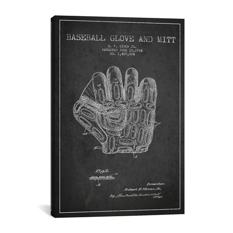Baseball Glove Patent Blueprint // Charcoal