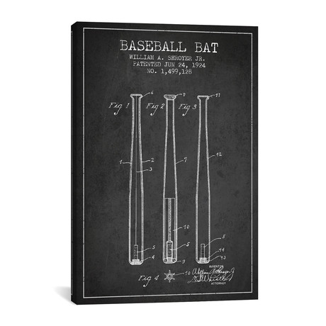 Baseball Bat Patent Blueprint // Charcoal