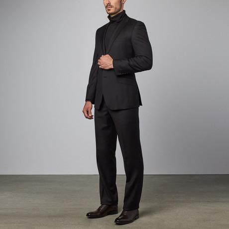 Solid Notch Lapel Suit // Black (US: 40R)